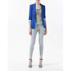 veste blazer col pointu ml  bleu electrique