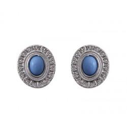 boucle plate argente pierre bleue