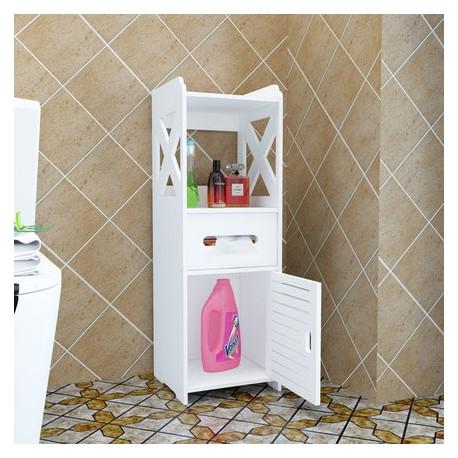 09.17Meuble Rangement Toilette Blanc Pvc - Fabric Mada