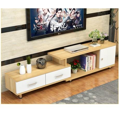 rabais tv etirable 1 porte 2 tiroir neutre blanc fabric mada. Black Bedroom Furniture Sets. Home Design Ideas