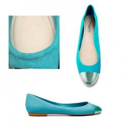 ballerine bleu turquoise bout metalle ZARA