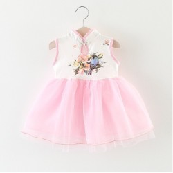 robe princesse chinoise blanc rose