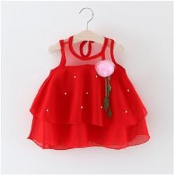 robe princesse rouge avec rose & perle blanche