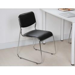 Chaise de bureau sans accoudoir simili cuir noir
