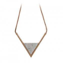 collier avec pierre triangle blanc et gris F21