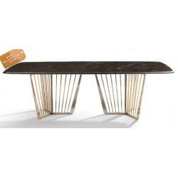 B2B table a manger rectangulaire en marbre support metallique doré