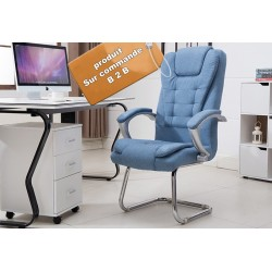 B2B fauteuil de bureau en tissu bleu clair pieds en acier