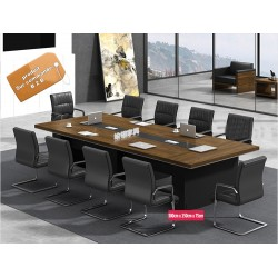 B2B table de conference melamine marron 3M + 10 chaise noir