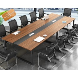 B2B table de conference melamine marron pieds metallique  3M + 10 chaise noir