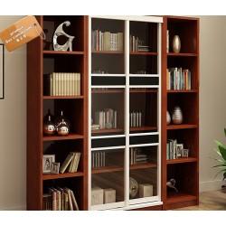 B2B meuble de bureau porte coulissante en verre etagere laterales modulable A+C+A marron