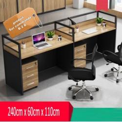 B2B table de bureau avec tiroir 2 poste cote-cote effet neutre
