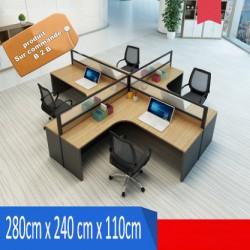 B2B table de bureau individuelle melamine sombre