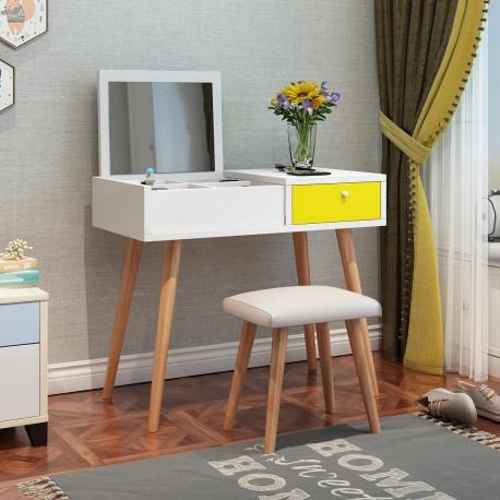 table coiffeuse scandinave blanc tiroir jaune