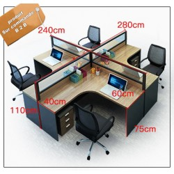 B2B table de bureau en L avec tiroir 4 poste effet neutre