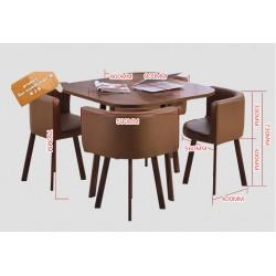 B2B table carrée melamine  Nordic avec 4 chaise capitonne  marron