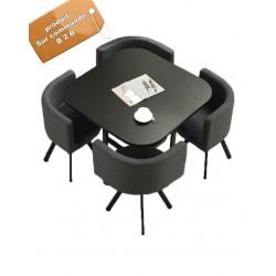 B2B table carrée melamine Nordic avec 4 chaise en tissu orange