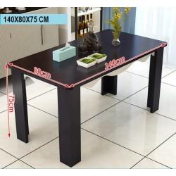 Table à manger design rectangulaire vitre blanc  130 cm x 80 cm