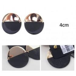 boucle plate ronde 2 tons noir dore