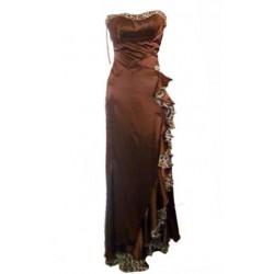 robe de soiree maxi marron