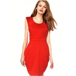 robe rouge ceintree manche courte ONLY