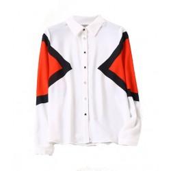 blouse ml blanc motif geometrique orange noir
